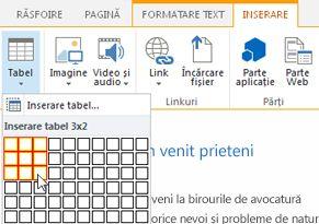 Inserarea unui tabel pe site-ul web public SharePoint Online