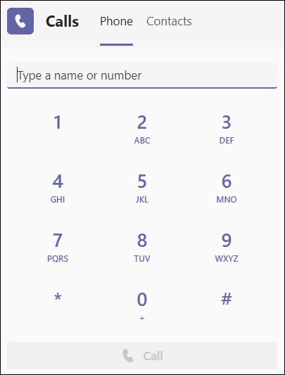 Teams tastatură telefonică simplă