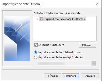 """Alegeți """"Import elemente în folderul curent"""""""