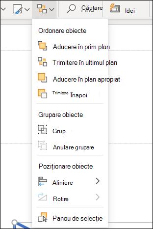 Meniul aranjare din PowerPoint pentru web