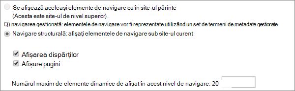 Opțiunile de navigare structurală pentru site-urile SharePoint