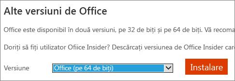 Captură de ecran din lista verticală pentru a selecta opțiunea de a instala Office - 64 de biți