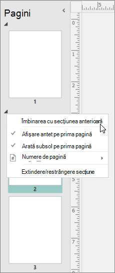 Captură de ecran afișează o secțiune selectată cu cursorul indicând spre îmbinarea cu opțiunea de secțiunea anterioară.
