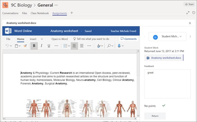 Vizualizarea, editarea și furnizați feedback despre lucru elev/student.