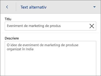 Comanda Text alternativ de pe fila Formă