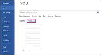 Fila Personal afișând șablonul personalizat, după ce faceți clic pe Fișier > Nou