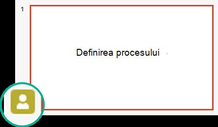 Indicator de prezență în panoul de miniaturi de diapozitiv