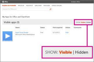 Afișarea aplicațiilor vizibile sau ascunse pentru Office