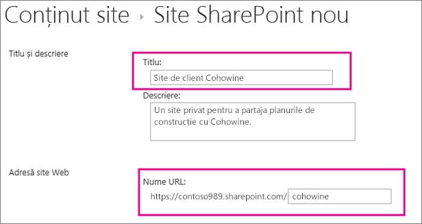 În caseta Titlu, tastați un nume pentru subsite, iar în caseta URL introduceți numele clientului pentru a-l adăuga la URL pentru site.