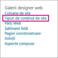 Linkul Tipuri de conținut de site din pagina Setări site