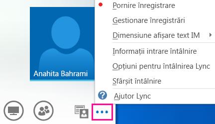 Captură de ecran cu mai multe opțiuni dintr-o întâlnire Lync