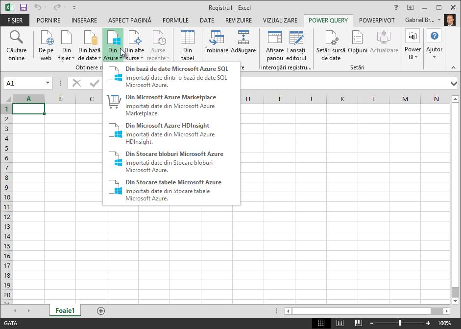 Preluarea datelor externe din Azure