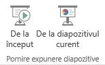 Începeți prezentarea comutând la fila Vizualizare și selectând unul dintre butoanele de Pornire expunere diapozitive.