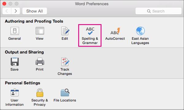 Faceți clic pe Ortografie și gramatică pentru a modifica setările pentru verificarea ortografiei și gramaticii.