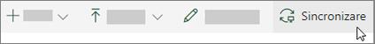 Bara de instrumente SharePoint Online cu opțiunea de sincronizare selectată