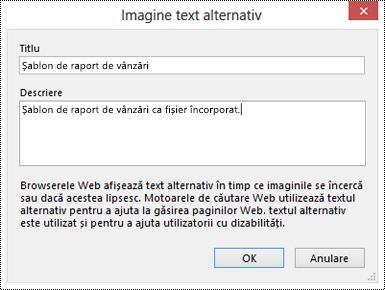 Caseta de dialog Adăugați text alternativ pentru o imagine imprimată fișier