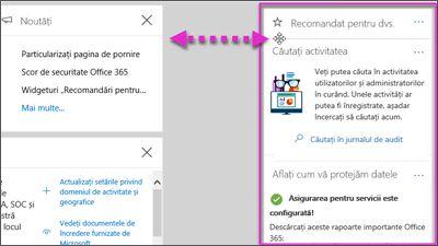 Acțiune afișând un widget în securitatea și conformitatea centrare se elimină la stânga cu opțiunea de personalizare pe pagina de pornire