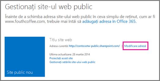 Gestionați site-ul web public, afișând Modificare adresă.