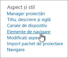 Elemente de navigare în meniul Setări Site