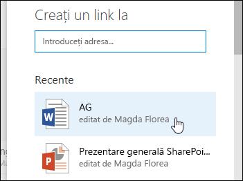 Adăugarea unui link într-o bibliotecă de documente la un element recente
