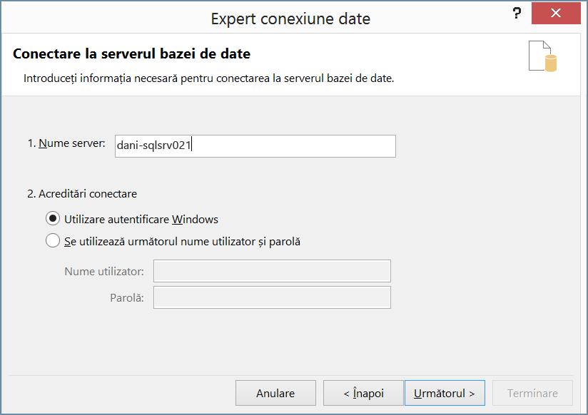Conectarea la serverul de baze de date