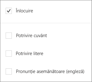 Afișează opțiunile găsirea pentru Word Mobile: înlocuiți potrivire Word, potrivire litere, sunete cum ar fi.