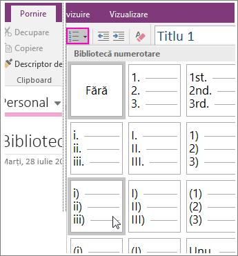 Captură de ecran cu adăugarea unei numerotări pe o pagină din OneNote 2016.
