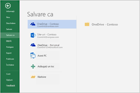 Opțiunile de salvare în Office 2016