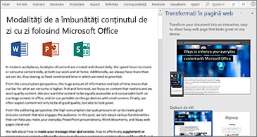 Document în stânga și panou Transformați în pagină Web în dreapta
