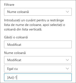 Filtrarea pentru o bibliotecă de documente utilizând numele de coloană