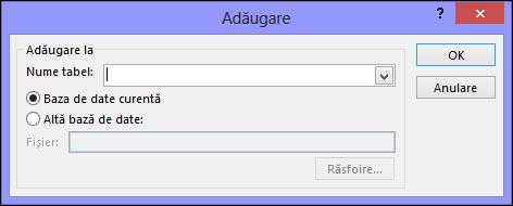 Captură de ecran a casetei de dialog Adăugare interogare