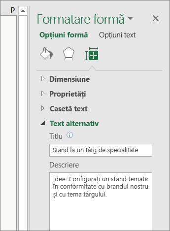 Captură de ecran cu zona Text alternativ din panoul Formatare formă care descrie forma selectată