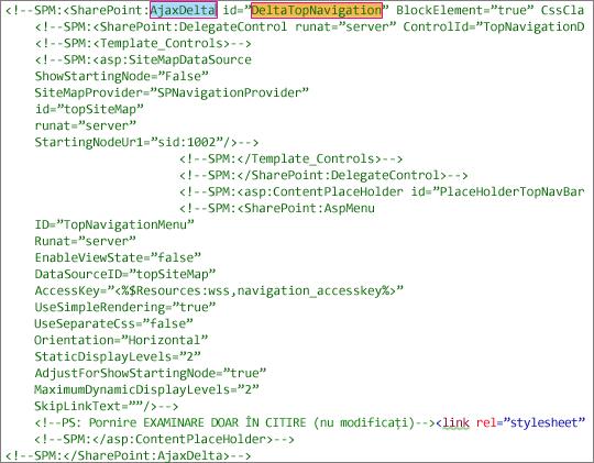 Screenshot of DeltaTopNavigation code to delete