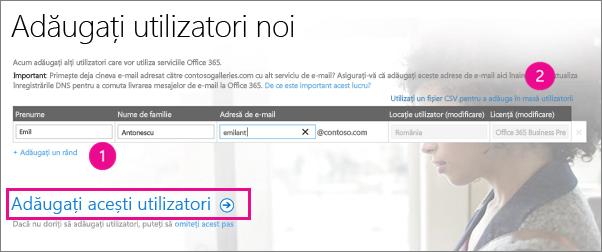 Adăugați utilizatori la entitatea găzduită Office 365
