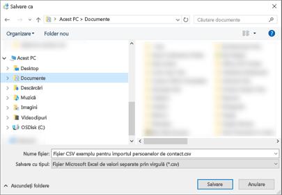 Când descărcați fișierul .csv eșantion, salvați-l pe computer ca tip de fișier .csv.