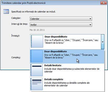 Lista Detalii din caseta de dialog Trimitere calendar prin Poștă electronică
