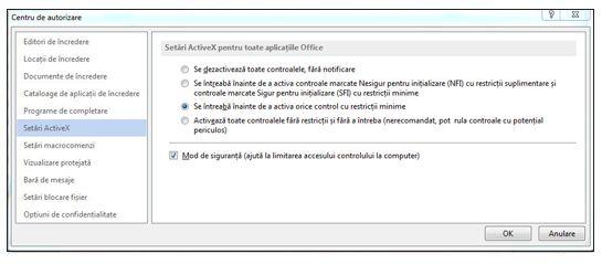 Zona Setări ActiveX din Centrul de autorizare