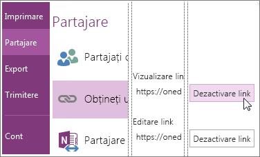 Captură de ecran cu dezactivarea unui link în OneNote 2016.