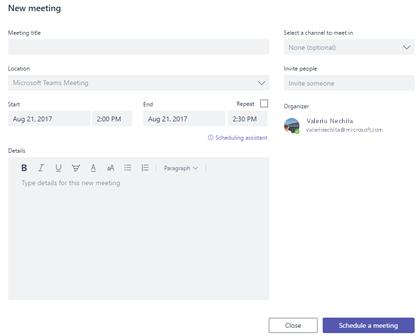 Programarea unei întâlniri noi, accesând fila întâlnirile echipelor