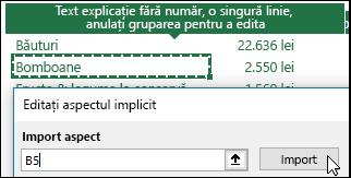 Importați setările PivotTable existente selectând orice raport PivotTable și făcând clic pe Import