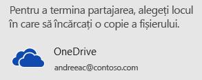 Dacă nu ați salvat încă prezentarea pe OneDrive sau SharePoint, PowerPoint va solicita să faceți acest lucru acum.