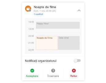 Invitația la întâlnire cu minicalendarul în partea de sus, secțiunea de comentarii în centru și butoanele de răspuns în partea de jos