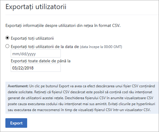 Yammer exportați utilizatori opțiuni - Export toți utilizatorii sau exportul toți utilizatorii de la (data)