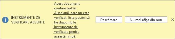 Mesajul Instrumente de verificare absente