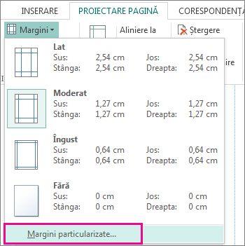 Margini particularizate pentru imprimare