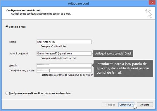 Introduceți adresa de e-mail Gmail și parola contului Gmail