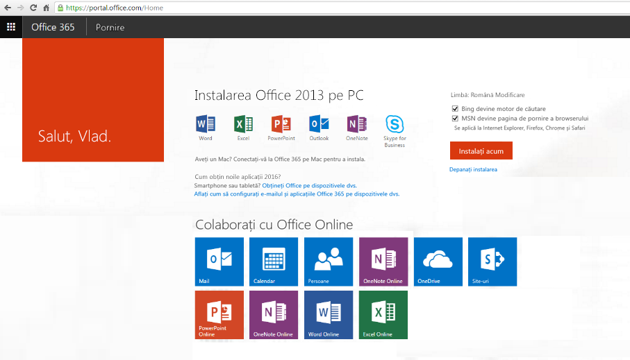 Captură de ecran pentru instalarea Office 365 pe un PC.