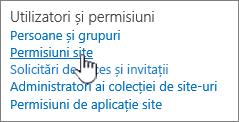 Element de meniu utilizatori și permisiuni