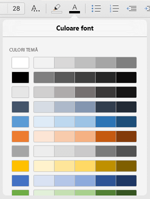 Culorile de font