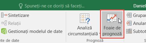 Butonul Foaie de prognoză din fila Date